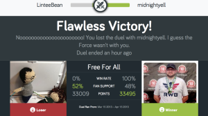 Actual Fitocracy duel - I lose