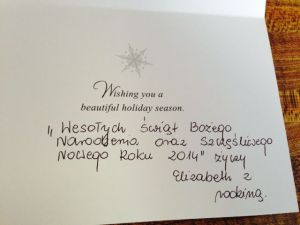 Holiday card from my cleaning lady
